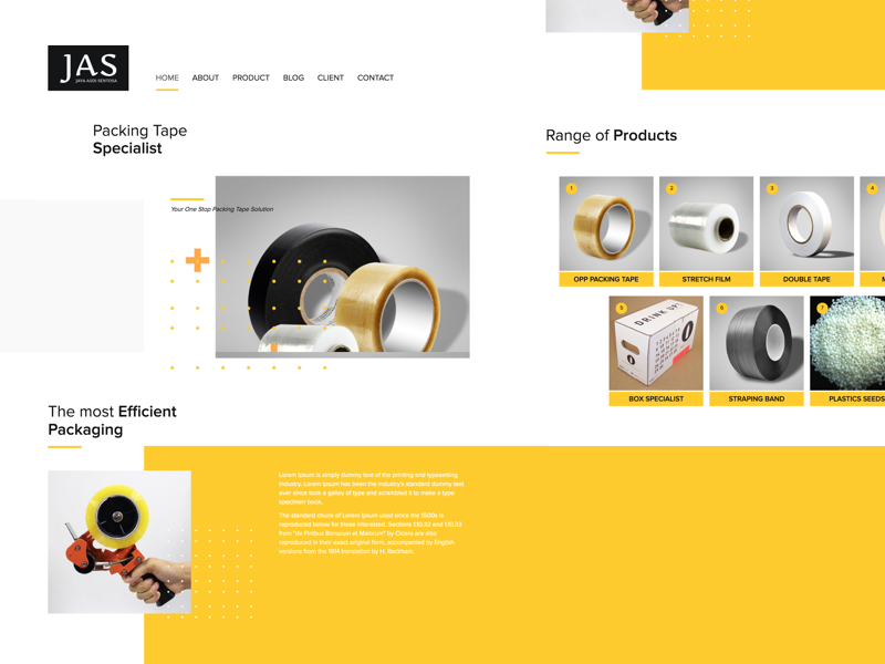Packing Tape Specialist yellow ui wesbite packing tape
