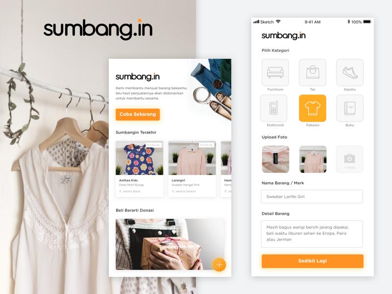 Sumbang.in ui interaction design uiuxdesign donation fundraiser gift