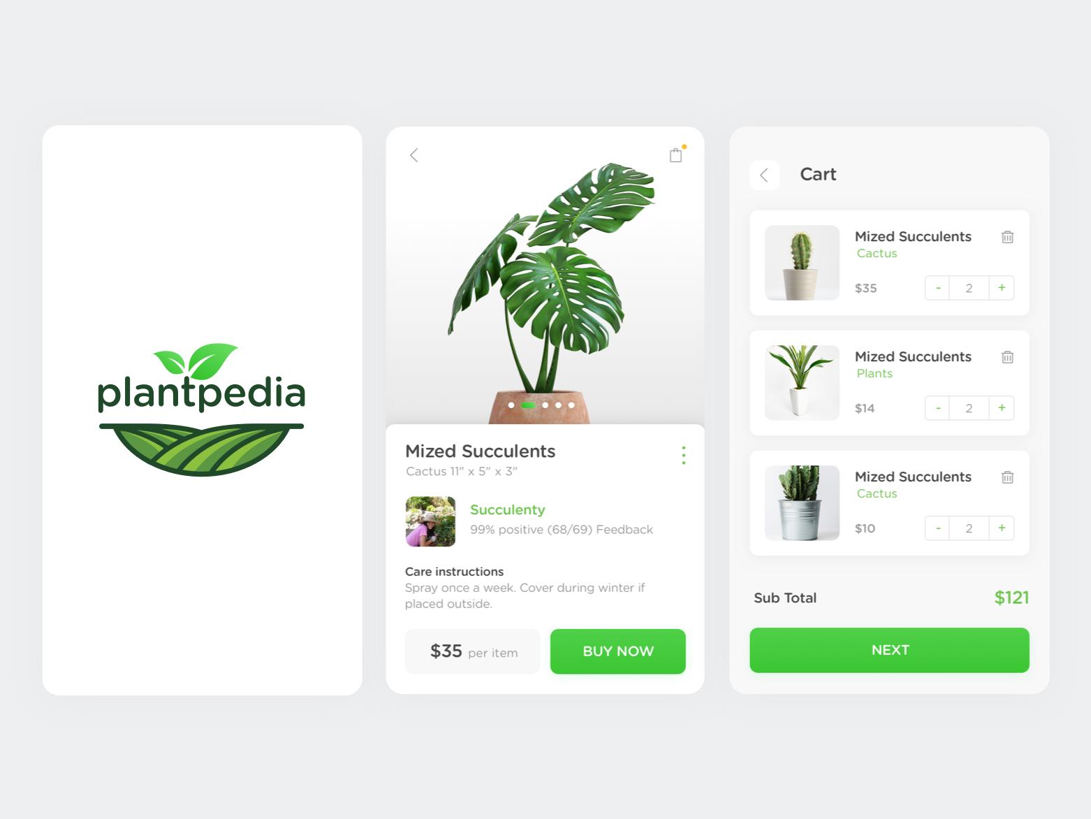 Plantpedia ecommerce ux app design ui