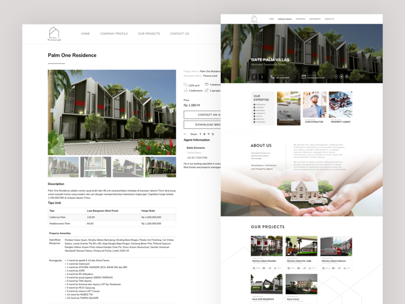 Pesonaland Homepage simple property website design ux ui