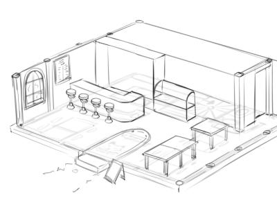 Cafe Concept by Nekonny sketch kemono cafe nekonny maid cafe design illustration