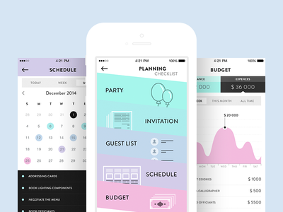 Wedding Planner ui ux design ios appdesign app mobile interface flat flatdesign wedding planner