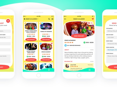Kids Party Entertainers Marketplace  material flat marketplace event party children kids ios design app