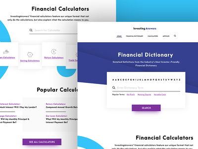 Financial Reference Guide calculator dictionary investing finance flat design site web ux ui