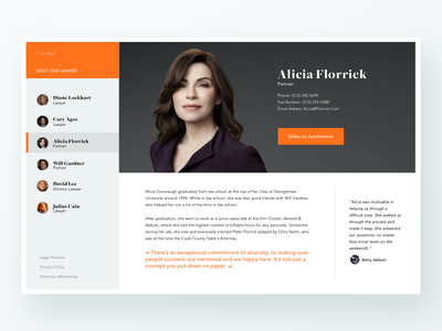 Lawyer Profile page interface list lawyer profile user web design ux ui