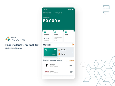 Dashboard | Bank Pivdenny | Redesign ios mobile app design mobile product design product fintech dashboard concept prototype animation prototype interection redesign concept redesign bank interaction design ux ui app framer