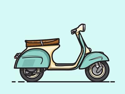 Vespa scooter illustration vespa