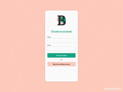DailyUI 001 Signup appdesign uxui uidesign dailyuichallenge dailyui 001 daily ui