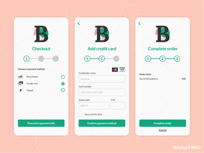 DailyUI 002 Credit Card Checkout mobile payment flow payment flow payment method checkout flow credit card checkout mobile app design mobile design mobile ui uxui uidesign dailyuichallenge dailyui 002 dailyui daily ui appdesign