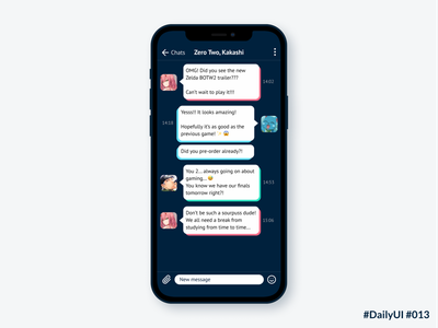 DailyUI 013 Direct Messaging dailyui013 daily ui 013 mobile interface app design message app directmessaging uidesign dailyuichallenge dailyui daily ui uxui