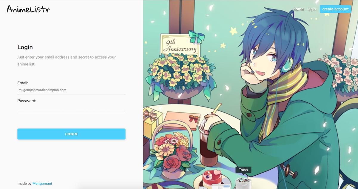 Animelistr login