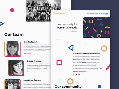 women.code(be) website women.code(be) womenintech womenwhocode womendotcodebe womeninit womencodebe community color scheme design webdesign ui branding landing page website