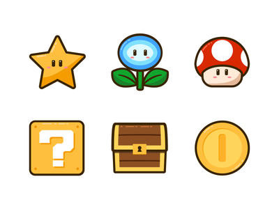 Super Mario Icons vector icons item box coin chest flower star mushroom super mario icons super mario super mario bros nintendo icon retro gaming icon