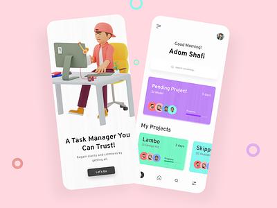 Task Manager App illustrator typography app design ui design task management task task manager minimal app ux ui illustration design
