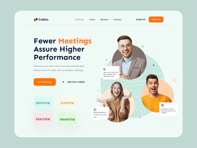 Cubics - Team Management Platform minimal webdesign illustration clean userinterface design website design web agency landing page