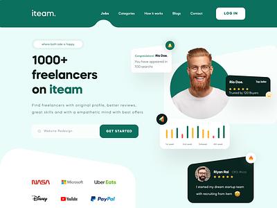 iteam - Freelancers Platform digital agency webdesign design clean branding userinterface web website design freelance freelancer agency landing page
