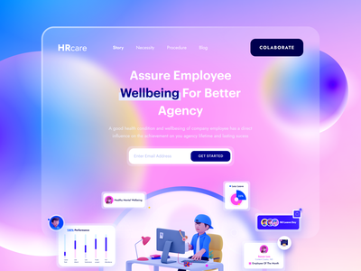HR care Dribbble ui ux design webdesign digital agency clean glassmorphism userinterface web website design agency landing page