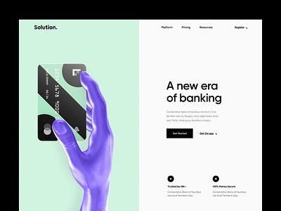 Solution. - Banking Website landing header finance 3d banking website banking app banking web userinterface website design ux clean design ui