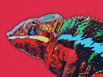 Rainbow Chameleon papercut texture paper animal cutout pink red vector tropical illustration design reptile iguana chameleon lizard