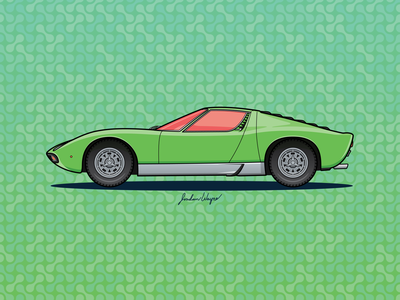1968 Lamborghini Miura miura digital design vector sports car lamborghini 1960s car classic car green illustration