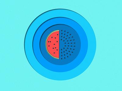 Watermelon fruit paper texture papercut blue watermelon design vector illustration