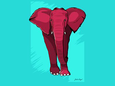 Pink Elephant blue red pink elephant design vector illustration