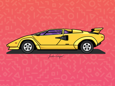Lamborghini Countach flat design design illustration vector 1980s yellow countach lamborghini classic car