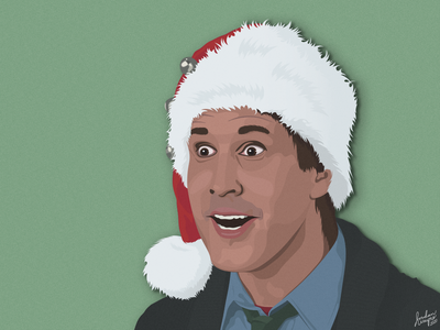 Clark Griswold (Christmas Vacation) texture paper papercut design vector illustration holiday santa griswold clark vacation christmas face portrait