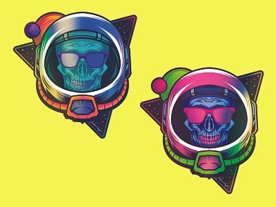 Holographic Space Skull holographic foil halloween skull sticker vector design illustration