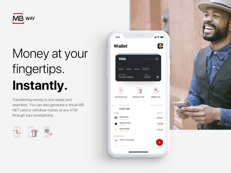Home screen of MBway App - Revamped concept ad product branding ux ui ios app payments fintech