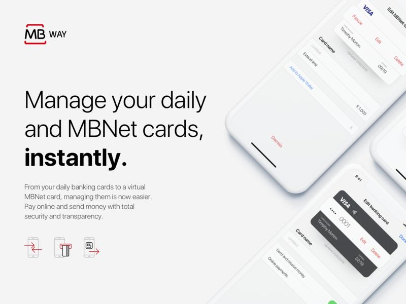 Cards details screen of MBway App - Revamped concept edit visa options cards ux ui payments ios fintech branding app concept app