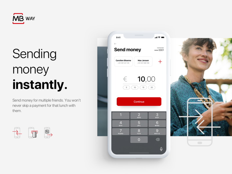 Send money screen of MBway App - Revamped concept favourites ui  ux ui payments fintech ios branding app branding app concept app