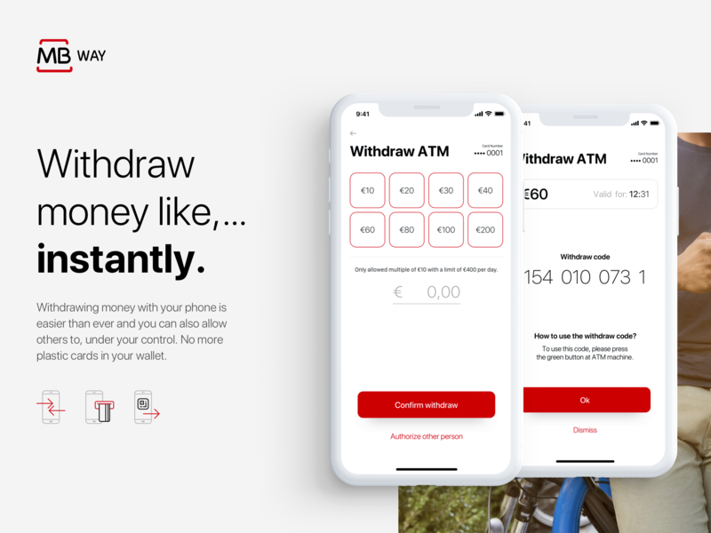 Withdraw screen of MBway App - Revamped concept timer options withdraw ui  ux ui payments ios fintech branding concept app branding app