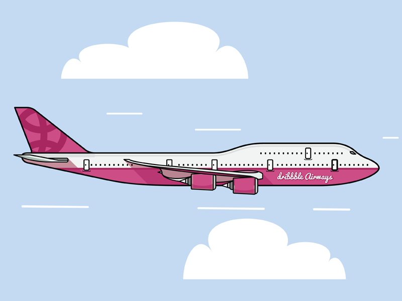 Dribbble Airways clouds plane flying debut dribbble illustration flat vector plane flying airplane