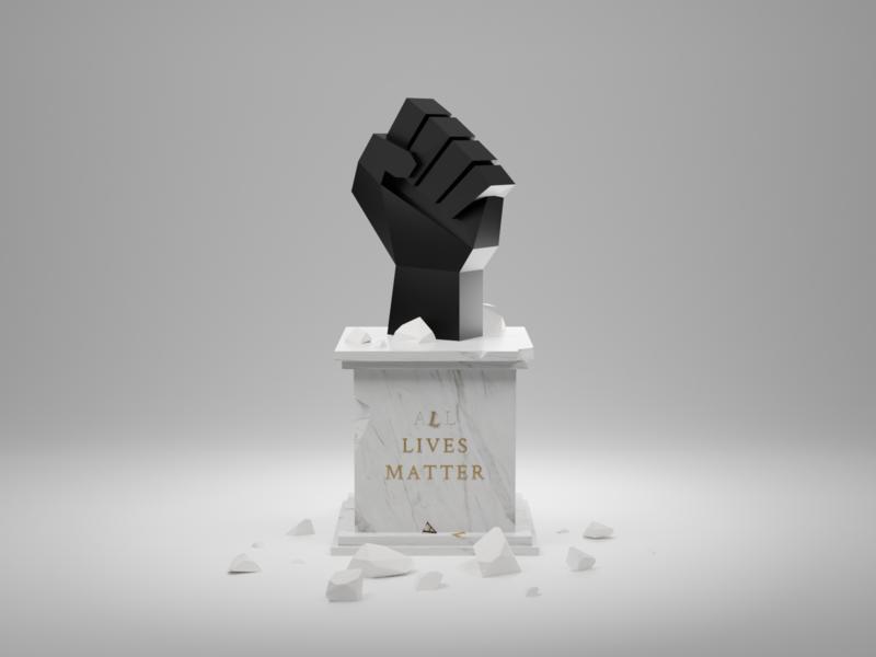 All Lives Matter. black and white damaged fist statue black lives matter white lives matter all lives matter blender 3d