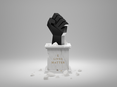 All Lives Matter. black and white damaged fist statue black lives matter white lives matter all lives matter blender 3d