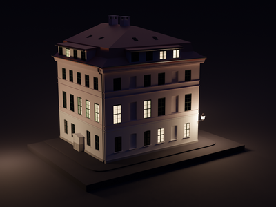 Das Knoblauchhaus light lighting blender3d night low poly lowpoly architecture blender 3d