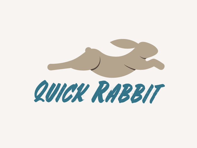 Quick Rabbit Logo Design motion speed animal bunny rabbit mark minimal illustration gridded branding identity logo