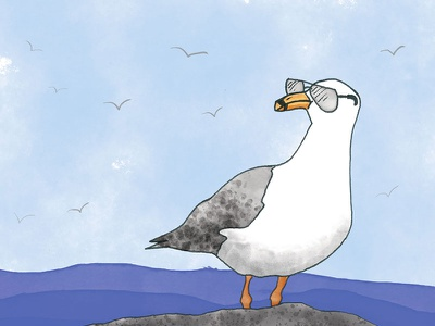 Chillin' Seagull watercolor watercolour illustration ocean bird