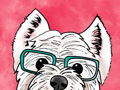 Miss Westie digital art watercolour illustration dog