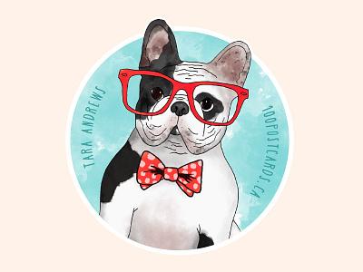 Beau the French Bulldog frenchie glasses bowtie illustration dog cute