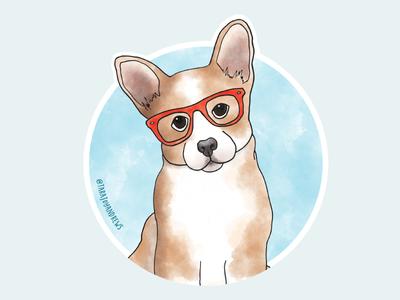 Cute Corgi wearing glasses sticker cute dog corgi illustration