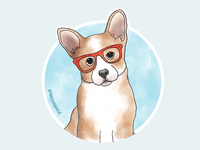 Cute Corgi wearing glasses