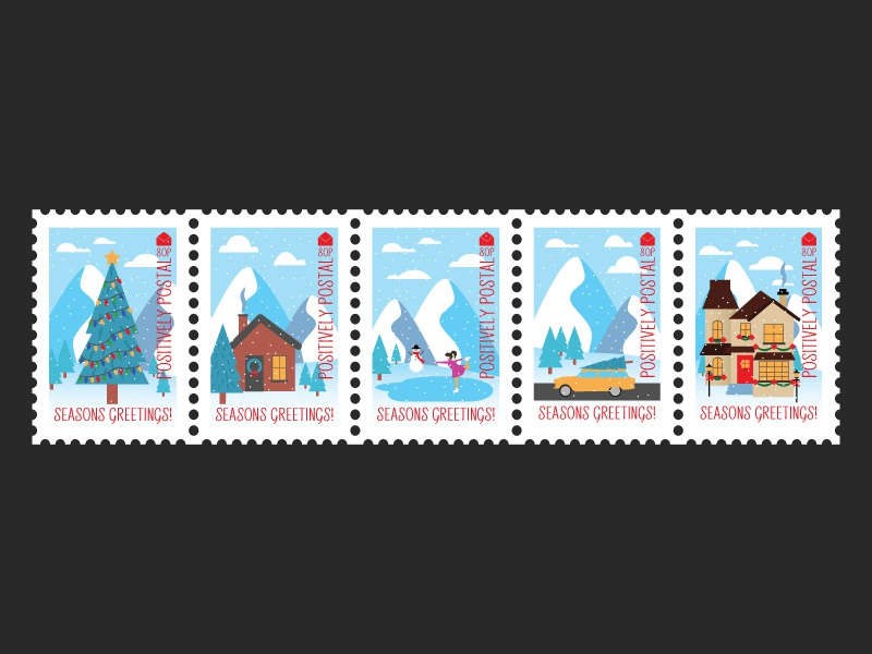 Christmas Postage Stamp Design freelance business freelance illustrator freelance designer illustration art postal winter christmas vector artwork vector art postage stamp postage