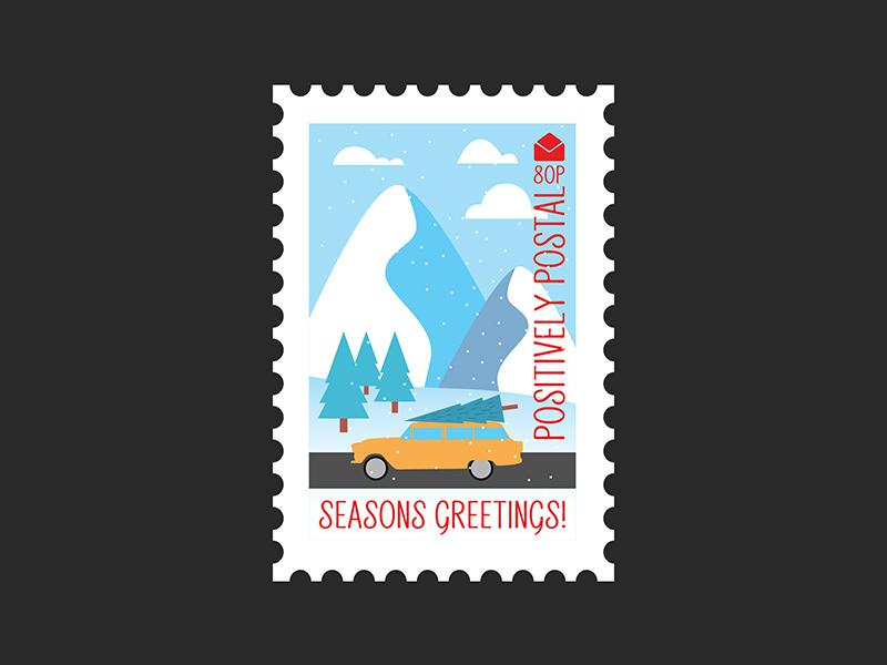 Christmas Postage Stamp #4 christmas winter graphic design design vector artwork vector flat  design christmas card christmas tree postage postage stamp