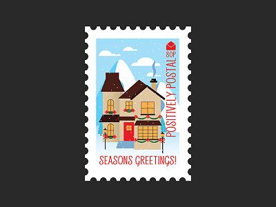 Christmas Postage Stamp #5 illustrator illustration christmas village decorated house winter christmas graphic design design vector art vector postage stamp postage
