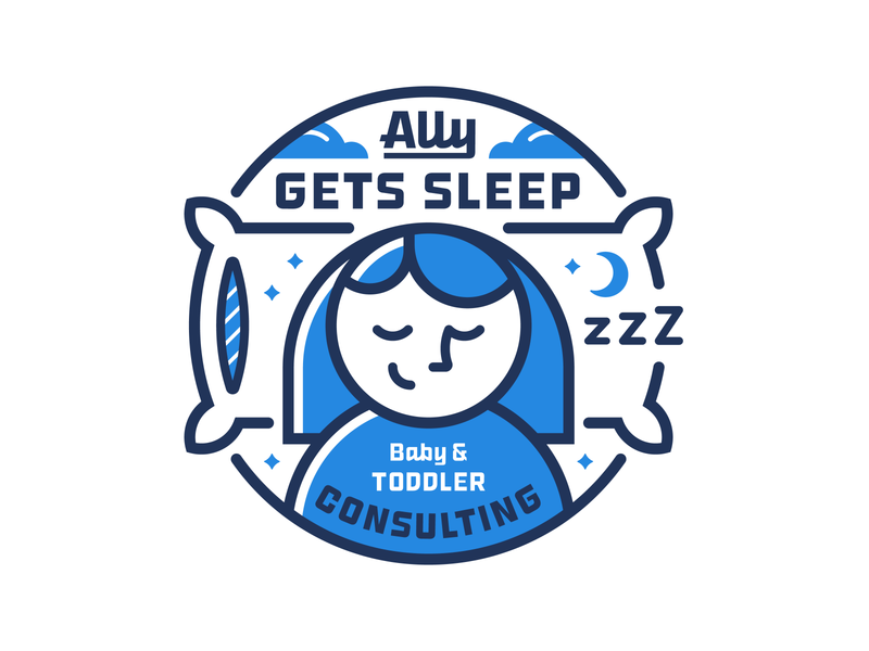 Ally Gets Sleep Logo clouds stars moon consulting toddler baby pillow sleep