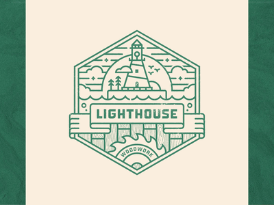 Lighthouse Woodwork clouds lighthouse logo banner saw blade linework woodworking wood woodwork
