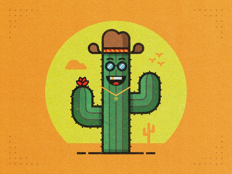 V. Chill Cactus sunglasses gold tooth saguaro hat illustration sun cactus