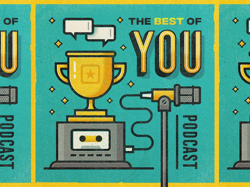 Best of You Podcast Art microphone tape cassette illustration trophy gold teal podcast you